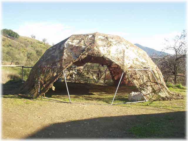 Dome with camo netting cover